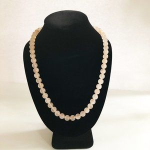 Jewelry - Genuine 9MM Rose Quartz Bead Strand Necklace